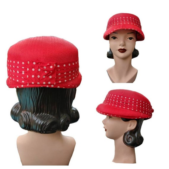 Vintage 1950s Women's Red Straw Hat with Polka Do… - image 1
