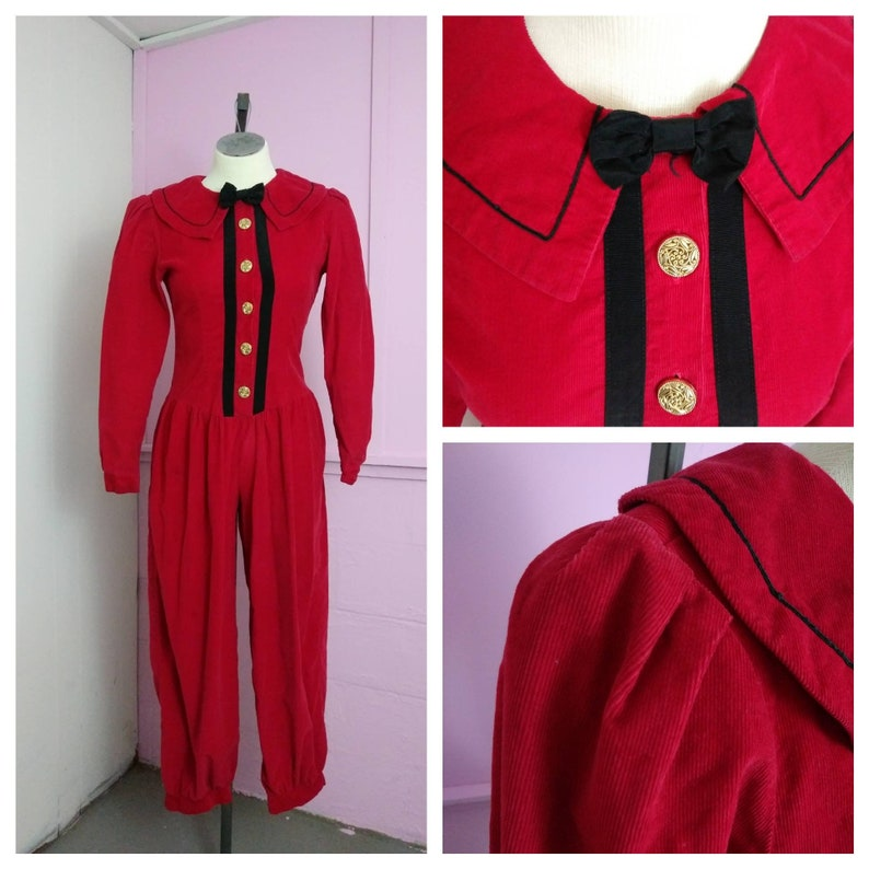 7f9c60ba349f 80s Misty Lane Red Corduroy Jumpsuit Christmas Holiday Costume