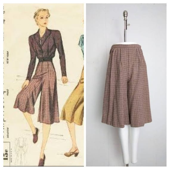 Authentic 1940s/50s Houndstooth Culottes | Size Me