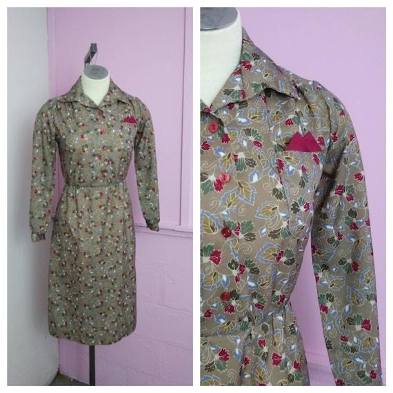 Vintage 1980s  Floral Print Secretary Dress