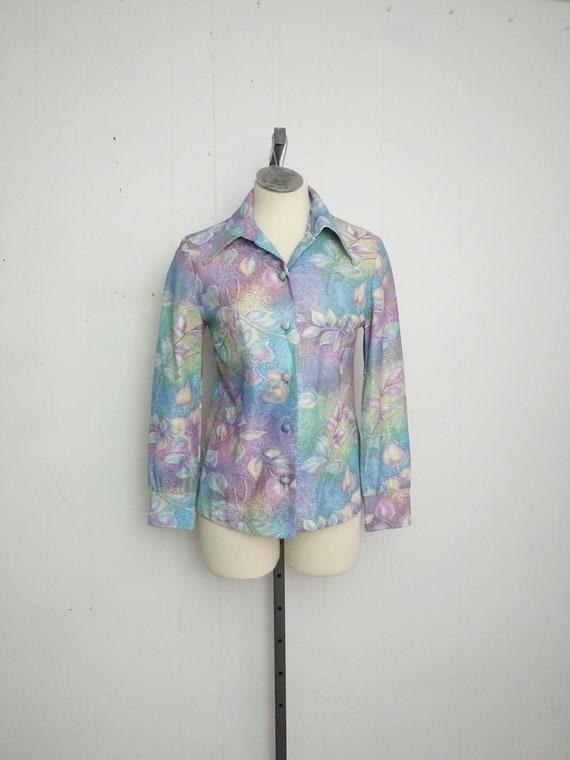 1970s Metallic Psychedelic Floral Print Shirt Boho