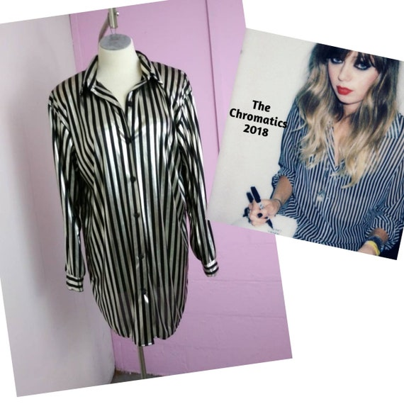 Vintage Shiny 80s Striped Rock and Roll Punk Rock