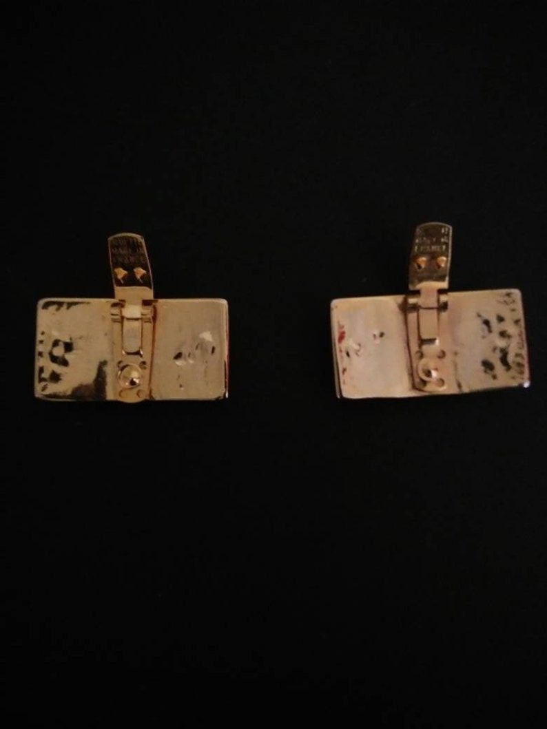 Vintage Studded Gold and Black Leather Rock and Roll Shoe Clips
