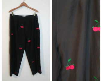 Vintage Allison Taylor/ Cherry Print Pants/Cropped Pants/Rockabilly Clothing/Pinup Girl Clothing
