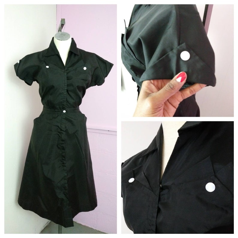 9a12fa83c1 1950s Black Taffeta Shirtwaist Pinup Dress Rockabilly Pinup
