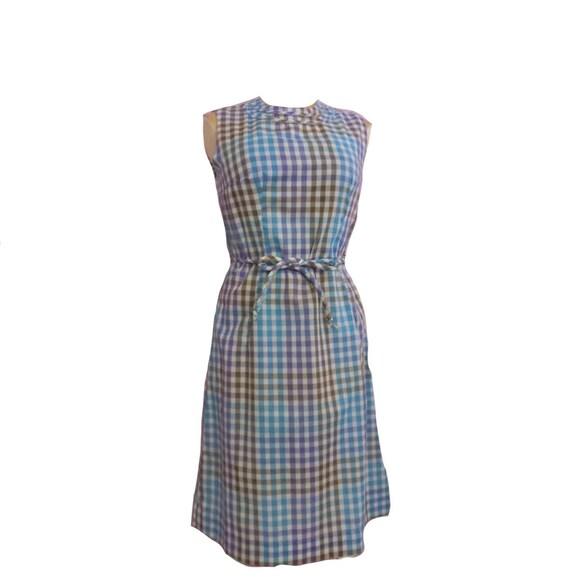 Vintage 1950s/60s Gingham Check Pinup Dress Rockab