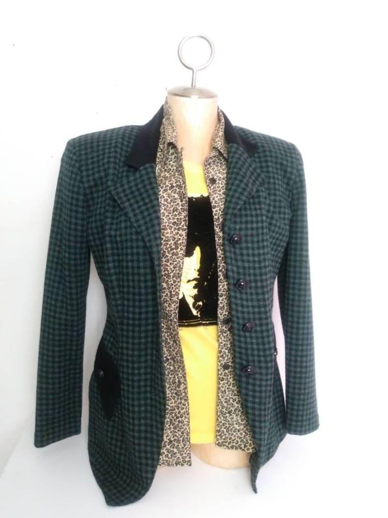 c861fa5fd20 Vintage 80s Blazer.Teddy Girl Jacket.Green and Black