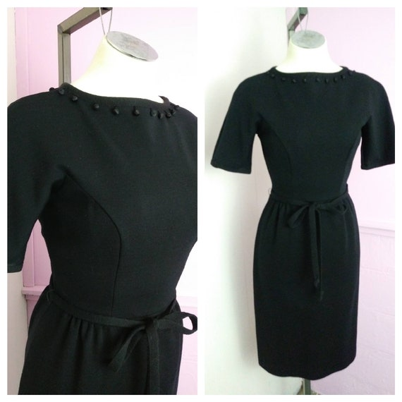 Vintage 1950s Black Pinup Dress Rockabilly Pinup G