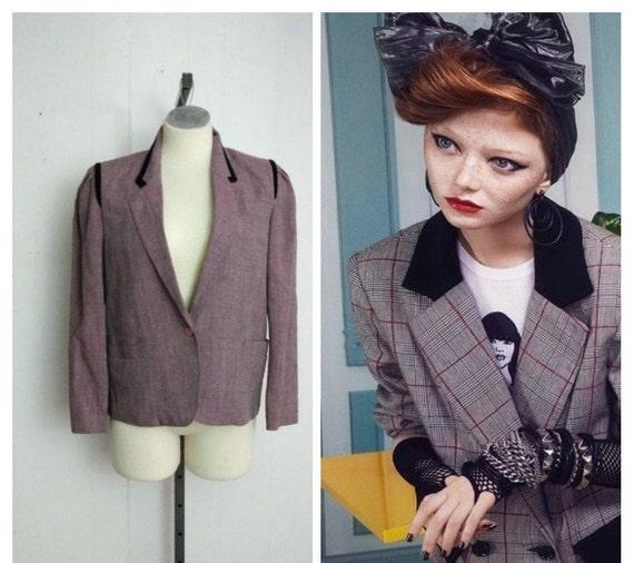1930s/40s Velvet Trimmed  Blazer | Black and Pink