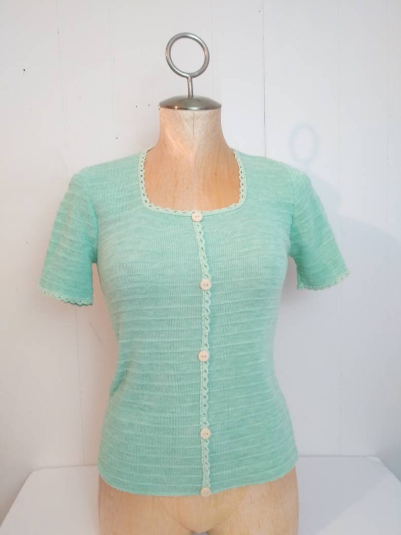 8697e7492 Vintage Mint Green Sweater Originals by Julie Knitwear