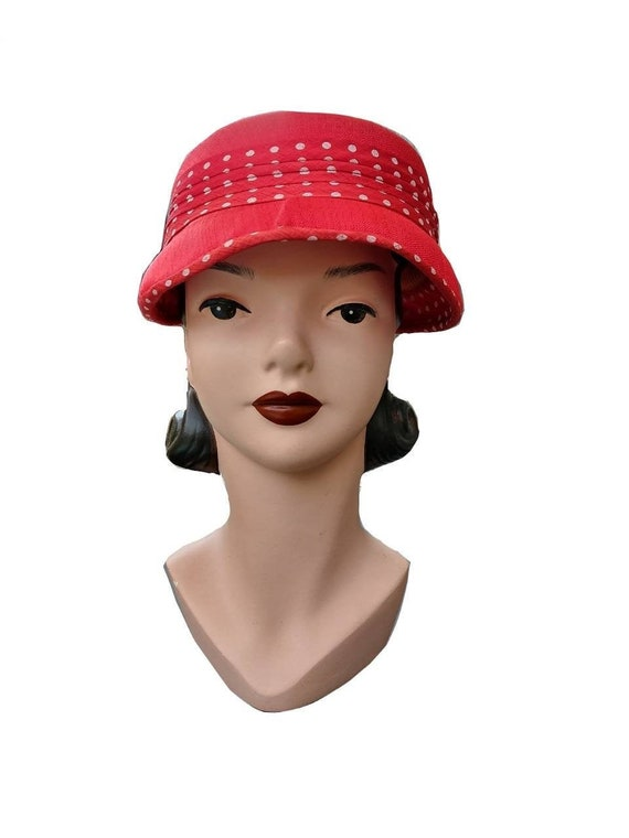 Vintage 1950s Women's Red Straw Hat with Polka Do… - image 2