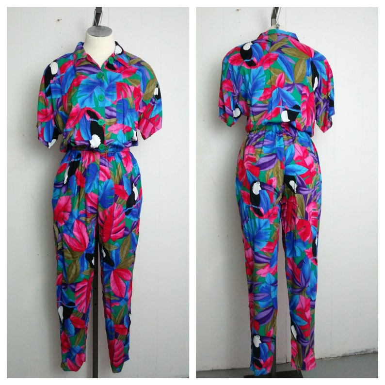 71caae7d17f Vintage 80s Jumpsuit Floral Print One Piece Rockabilly Pinup