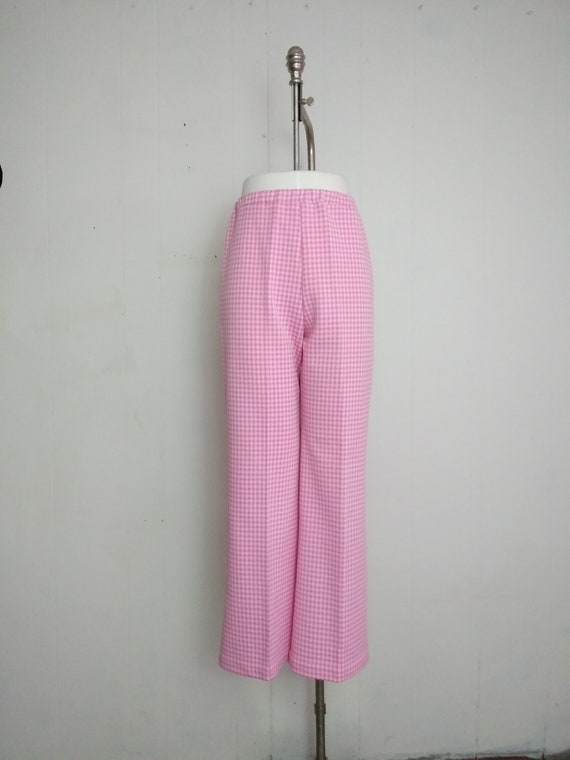 Plus Size 1970s Pink and White Gingham Check  Poly