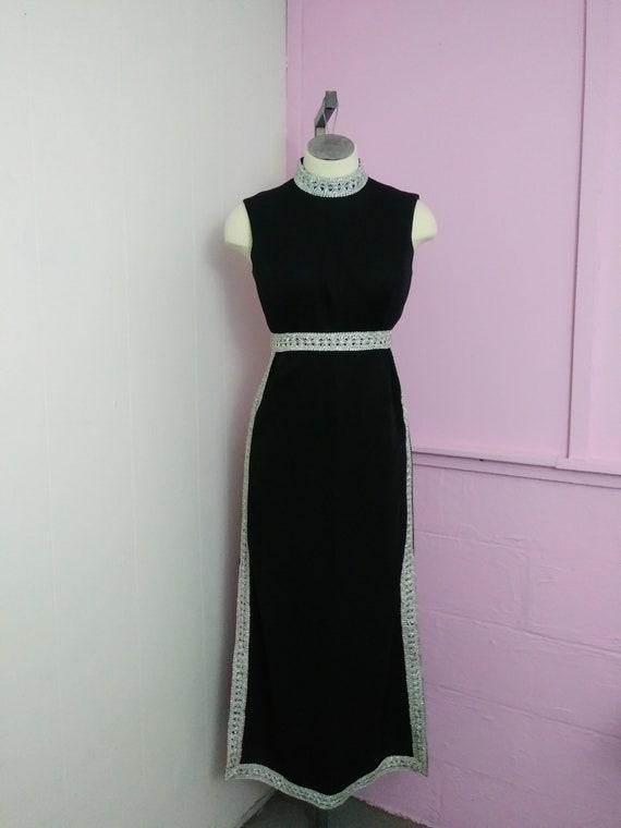 Vintage 70s Black Dress | High Slit Dress | Metall