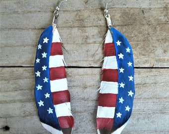 Hand-Painted Feather Earrings (American Flag 4 - RED, WHITE and BLUE)