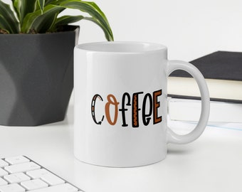 COFFEE White Glossy Mug ~ Fun lettering ~ morning mischief inspiration word art coffee mug life gift for her or him