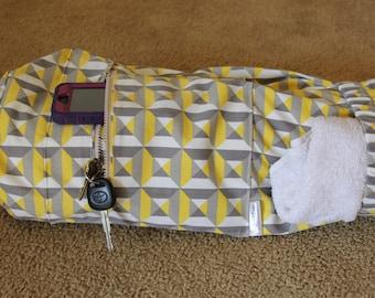 Yoga Bag, Grey, white and yellow geometric blocks, yoga mat bag by Aicynshell Bags, Pilates Bag, Yoga tote, Yoga duffel bag