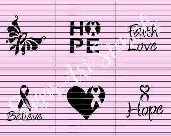 Awareness stencils Hope Believe faith love set of 6  SL2062