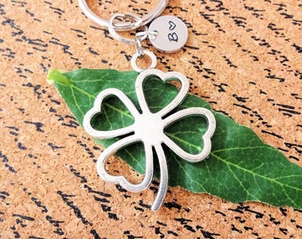LARGE 4 LEAF CLOVER keychain w initial charm - almost 2 inches - lucky 4  leaf clover - use as keychain d12d5e9ba8a7