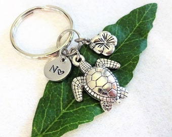 SEA TURTLE KEYCHAIN with hibiscus flower   initial charm in silver tone -  use as keychain 60b90971e9