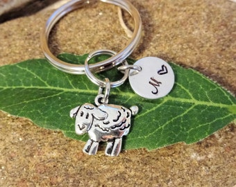 LAMB SHEEP KEYCHAIN in silver tone with initial charm - use as keychain b1094f8163