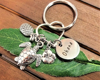 OHANA KEYCHAIN w pineapple, hibiscus flower, turtle on a heart - Choose a keyring or clasp from pix