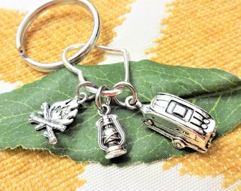 CAMPING KEYCHAIN - camper, lantern, fire on heart - Choose a keyring or clasp from pix
