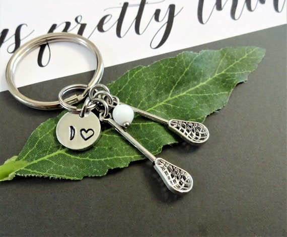 """SILVER /""""3D LACROSSE STICK/"""" CHARM WITH SPLIT RING"""