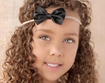 Black Glitter Headbands, Black Headbands, Glitter Bow Headbands, Small Black Bows, Nylon Bow Headbands, Black Bow Headbands, Baby Headbands