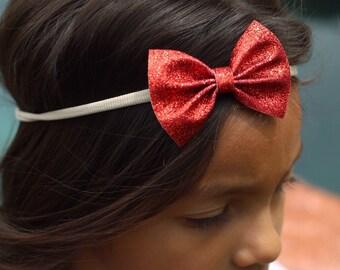 Red Glitter Headbands, Nylon Bow Headbands, Red Bow Headbands, Red Headbands, Glitter Bow Headbands, Small Red Bows, Newborn Nylon Headbands