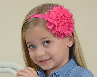 Hot Pink Flower Headband, Hot Pink Headband, Hot Pink Flower Clip, Hot Pink Hair Clip, Shocking Pink Headband, Pink Flower Girl Headband