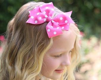 Pink and White Bow, Pink Polka Dot Bow, Polka Dot Hair Bow, Mouse Bow, Pink Bow, Pink Hair Bow, Pink Bow Headband, Pink Bows for Girls