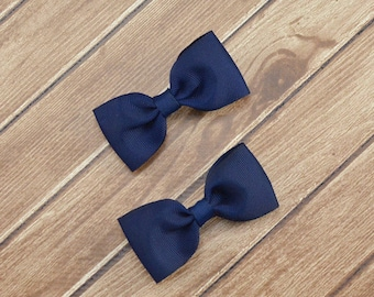 Navy Blue Hair Bows, Solid Blue Bows, Navy Blue Bows, Uniform Hair Bows, School Hair Bows, Solid Hair Bows, Pigtail Hair Bows, Tuxedo Bows
