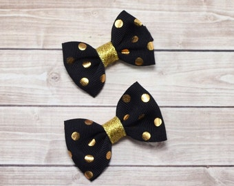 Small Black and Gold Polka Dot Bows, Mini Pigtail Bows, Baby Hair Bows, Small Baby Bows, Baby Hair Clips, Mini Hair Bows, Small Gold Bows