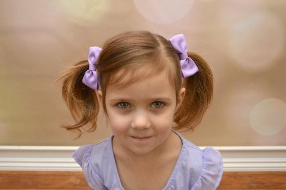 Light Lavender Hair Bows Lavender Bows Pigtail Hair Bows | Etsy