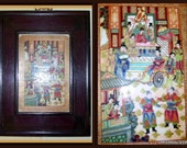 Antique Chinese Hand Painted Porcelain Panel - Song Dynasty (1880-1910) Chinese Royalty Court Figures -Pagodas -Temples- Custom Wood Frame