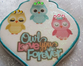 Owl love you forever personalized Christmas ornament