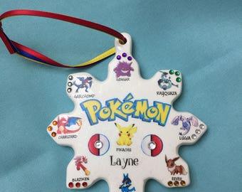 Pokemon personalized Christmas ornament