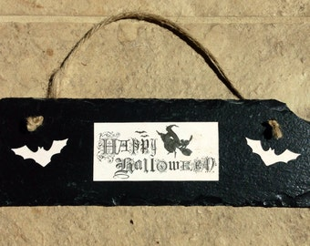 Black slate happy Halloween plaque