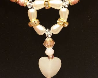 """Pink Lady Necklace """" Sweetheart Series """", Mother's Day Gift, Heart Shaped Necklace, Wedding Jewelry, Pearl beaded Necklace, Heart Pendant"""