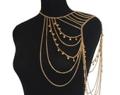 gold chain beaded body chain shoulder piece boho accessory sexy body chain statement jewelry gift for her beach wear beaded necklace