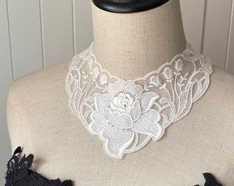 floral white cotton lace choker bib necklace - large choker / rose flowers pattern bridal necklace //wedding necklace jewelry gift for her