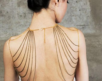 SALE gold statement shoulder jewelry// gold chain top//steampunk chic /accessory gift Lacefancy