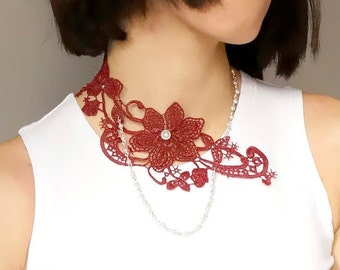 SALE statement necklace // burgundy floral lace bib necklace // pearl  beaded hand dyed // boho retro chic choker // Fabric jewelry gift