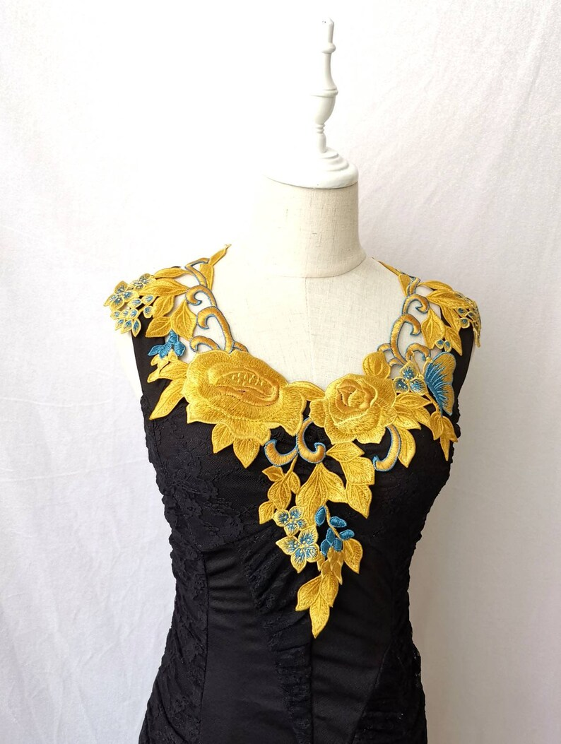 yellow blue embroidery floral lace bib collar necklace  fabric  vintage jewelry flower Rose Butterfly retro art deco  accessory gift her