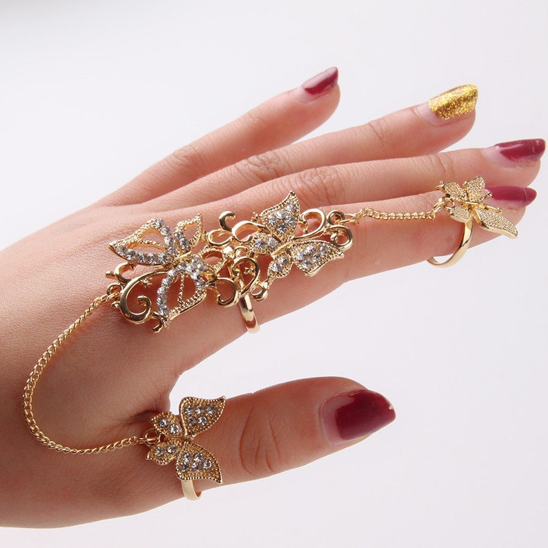 Gold Silver Double finger ring butterfly thumb ring Adjustable point finger ring  rhinestone crystal ring  long linked ring  gift for her