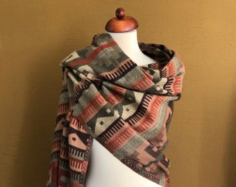 Earthly Colors Abstract Handwoven Yak Wool Shawl