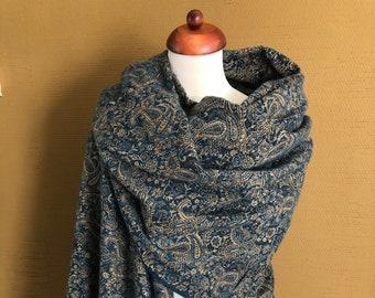 Bleu & Gold Paisley Handwoven Yak Wool Shawl