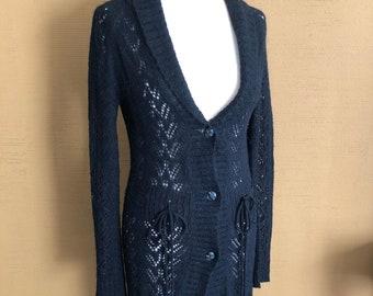 SH Long Black Knitted Bohemian Vest