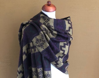 Purple, Beige & Green Abstract Yak Wool Shawl